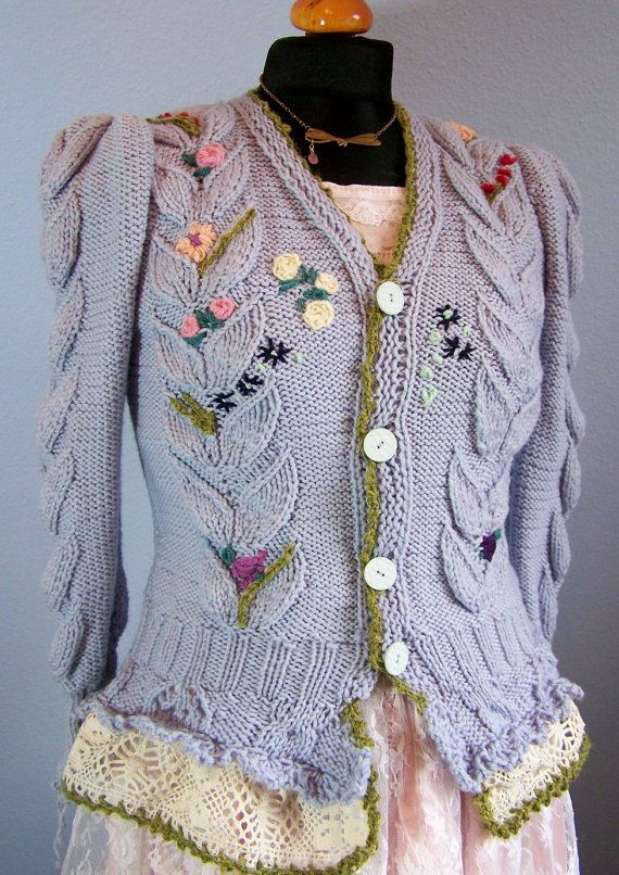 knitted sweater with embroidery by Wollarium on Etsy, $250.00