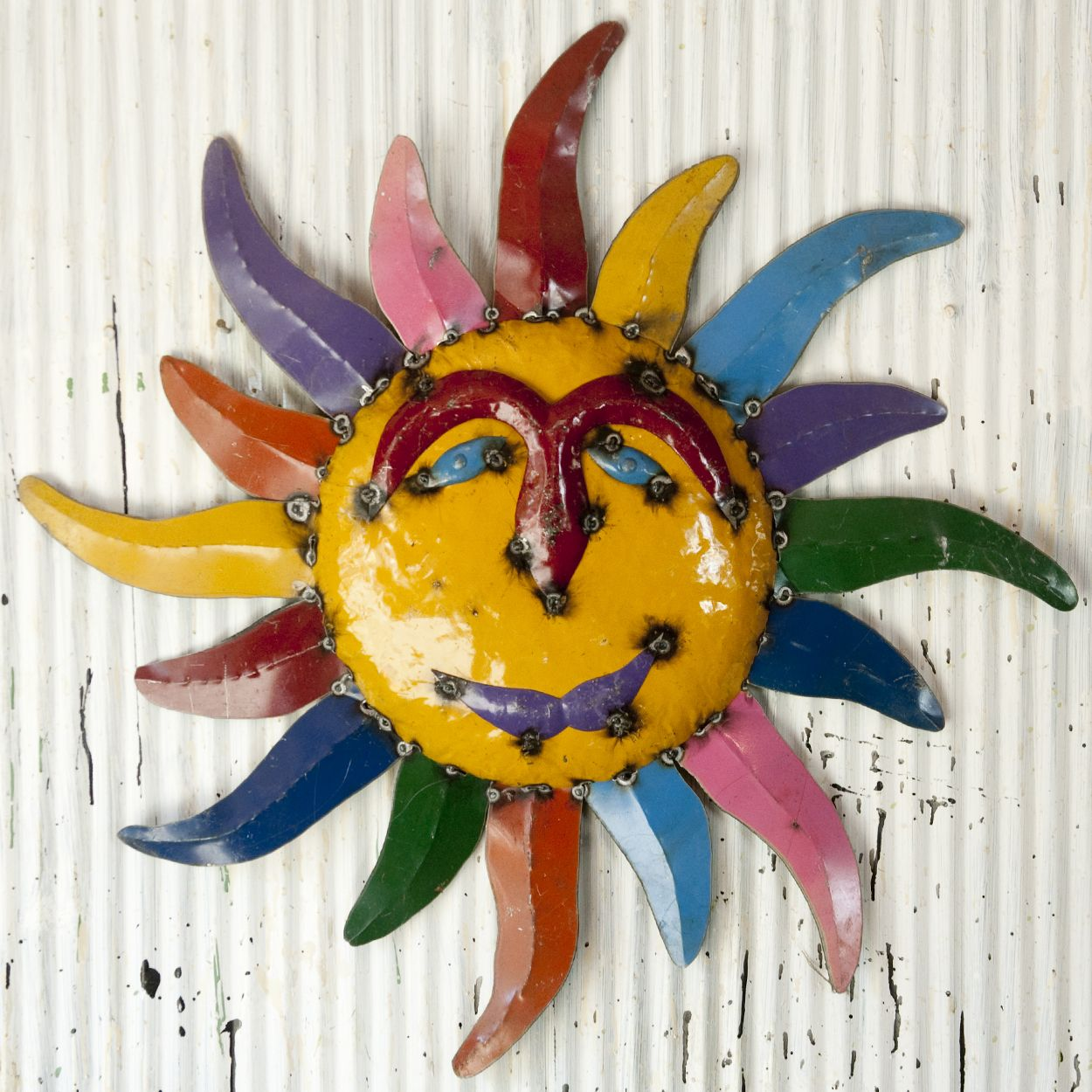 Folk Art Colorful LG Tin Sun Faces Metal Suns 3 Sizes Hanging Wall ...