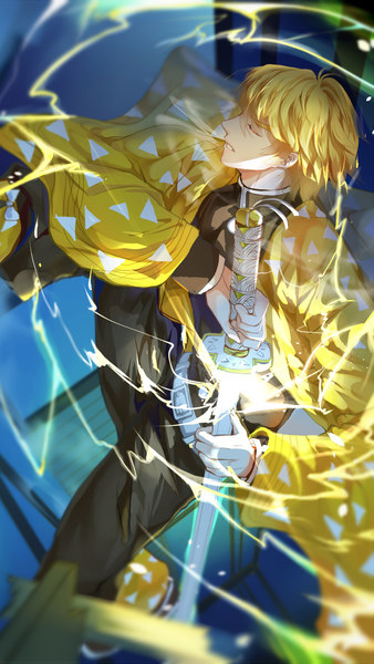 Zenitsu Agatsuma Katana Lightning Kimetsu no Yaiba 4K