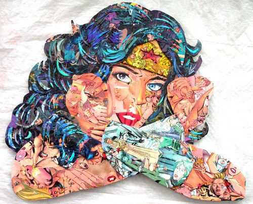 confetti collage wonder woman brenda kirk collage of comics women from the dc