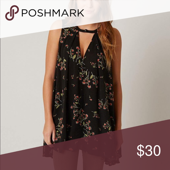 d953a1bb7b12c FREE PEOPLE   tree swing tank top Beautiful floral print tank top Back  button detail Measures
