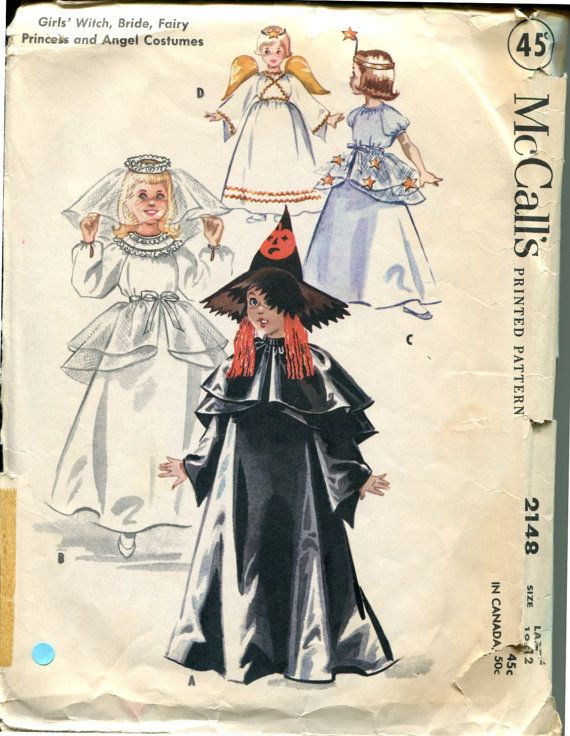 McCalls 2148 1950s Costume Pattern Bride Angel by retromonkeys ...