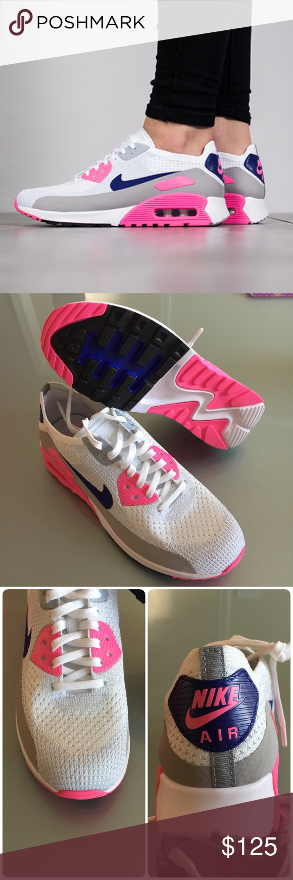 2ace98d60356 🎉🎈HP🎈🎉New NIKE Air Max 90 Ultra 2.0 Flyknit brand new no lid size 8.5  white concord laser pink black comes from smoke free home 100% authentic  M1700070 ...