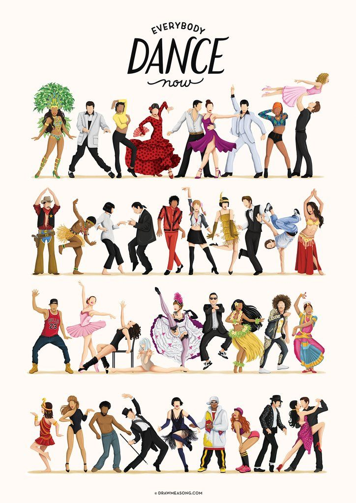 Everybody Dance Now Art Print By Draw Me A Song Wall Art Poster Everybody Dance Now Dance Art Pop Art Posters
