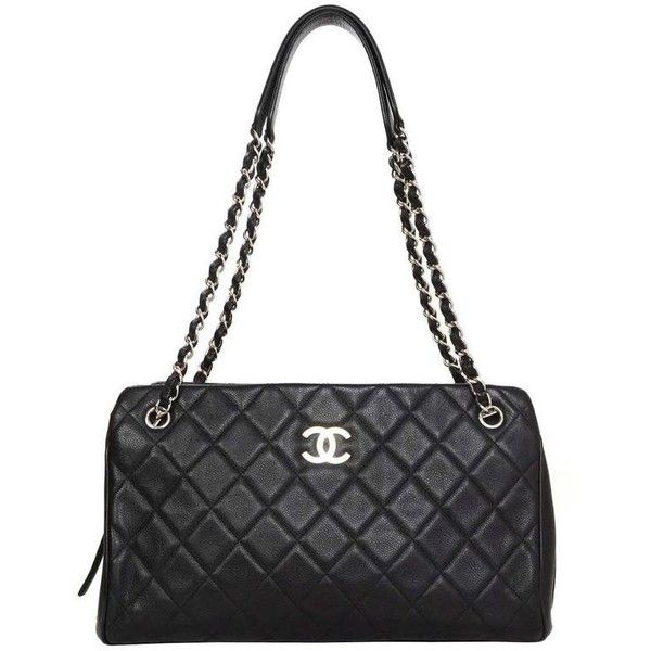 Preowned Chanel Black Quilted Caviar Tote Bag Shw (57,715 MXN) ❤ liked on Polyvore featuring bags, handbags, tote bags, black, zippered tote bag, chanel tote bag, chanel purse, zipper tote and pre owned handbags