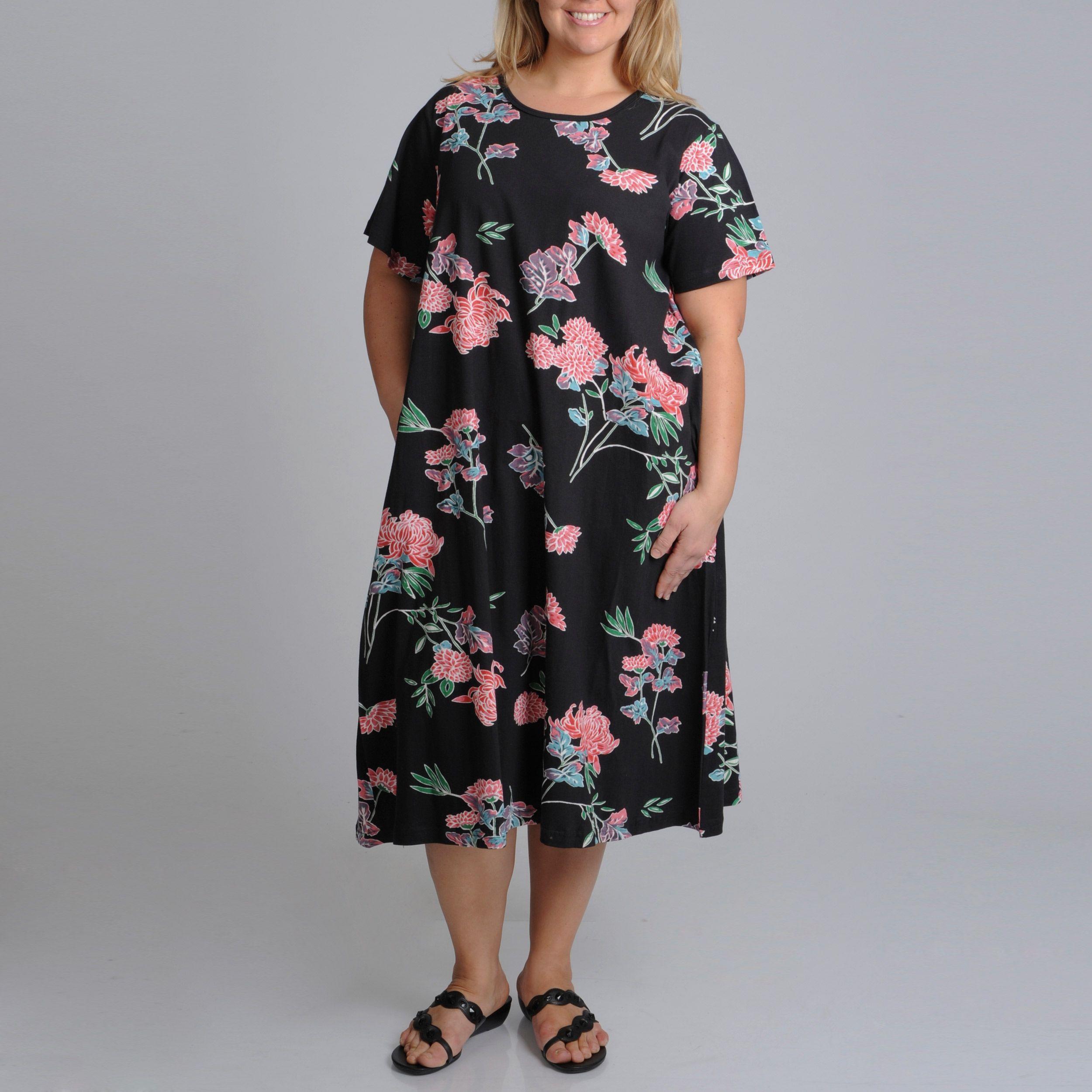 La Cera Womens Plus Size Print A Line Dress Products Pinterest