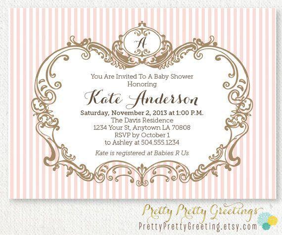 Elegant Baby Shower Invitations | Elegant Girl Baby Shower Invitation By  PrettyPrettyGreeting