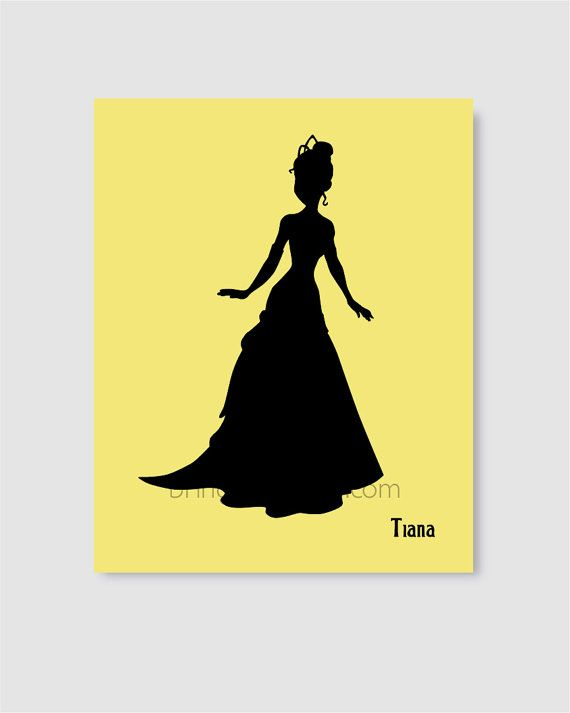 Princess Tiana Silhouette Wall Art Print 8X10 for by BringColor ...