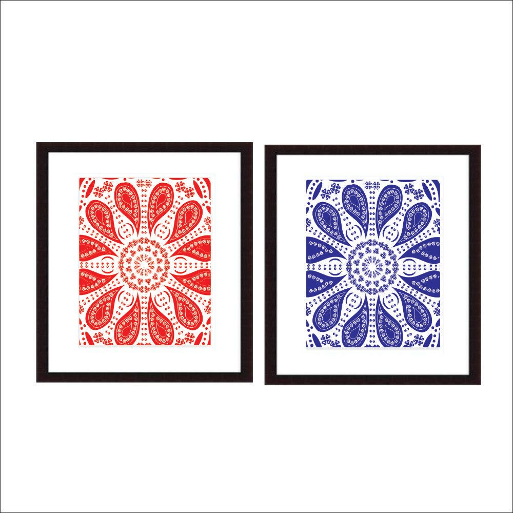 Printable wall art instant download red and blue art kitchen art