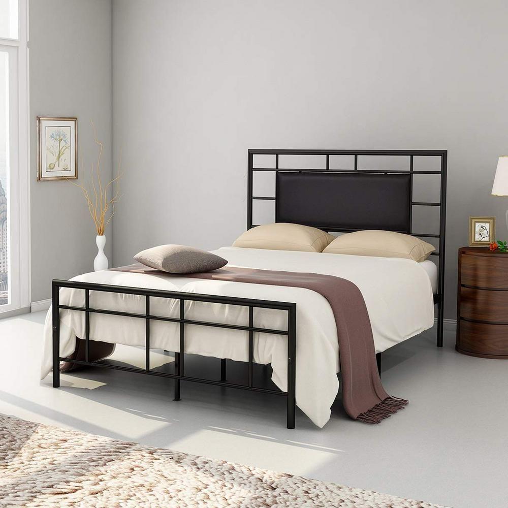 Boyel Living Modern Style Platform Metal Bed Frame Queen Size