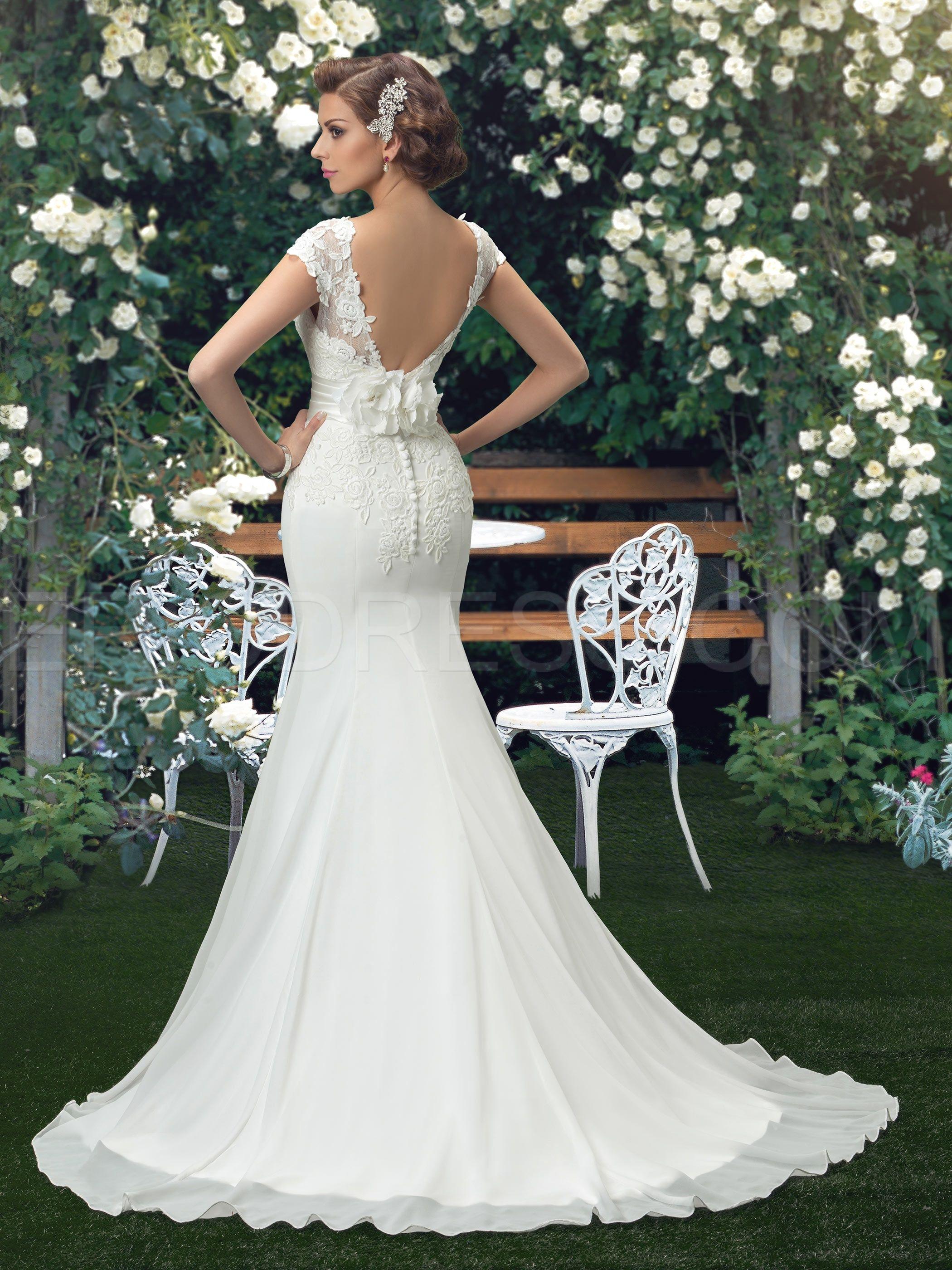 Sin espalda de encaje Sirena trompeta vestido de novia | Mermaid ...