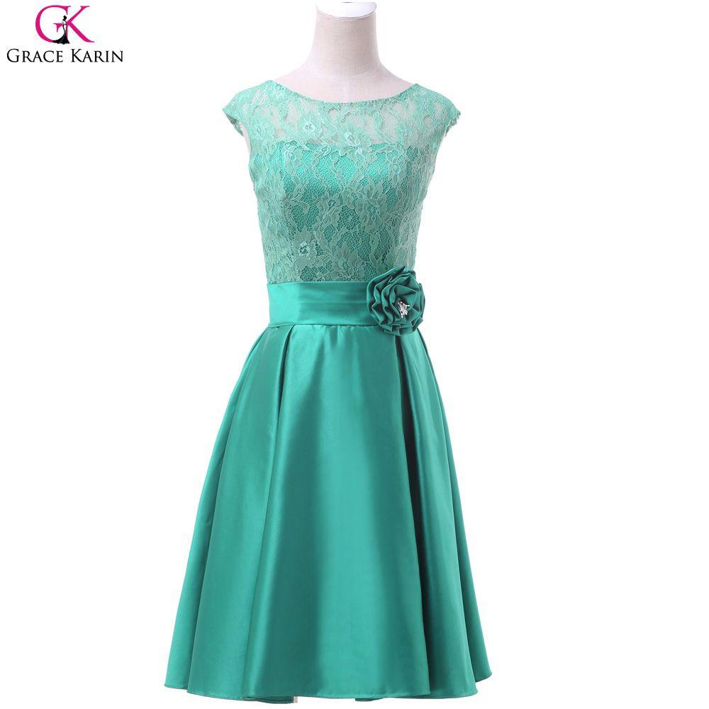 Short Prom Dresses Grace Karin Sleeveless Satin Lace Knee Length ...