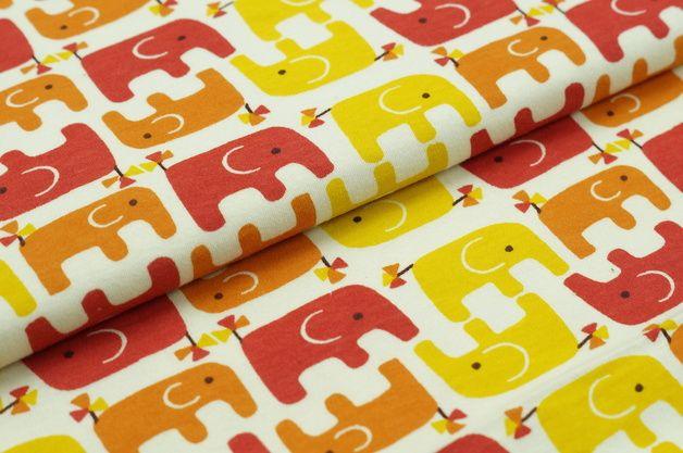 Bio-Stoffe - Bio Baumwolle Interlock Jersey USADesign Elefanten - ein Designerstück von traumbeere_handmade bei DaWanda