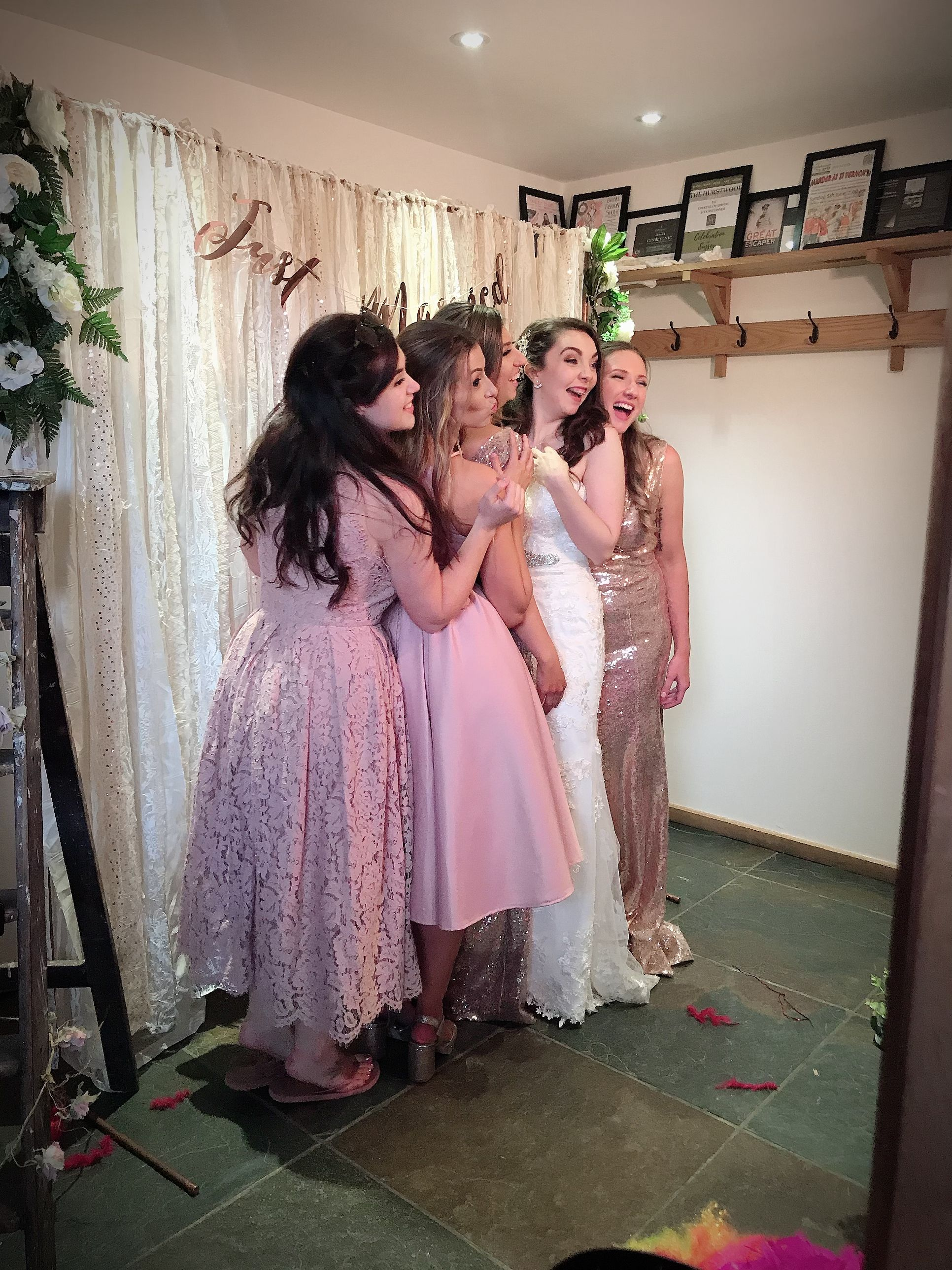 Our gorgeous bride and bridesmaids enjoying a cheeky snap in