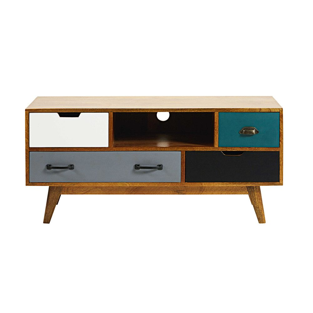Maison Du Monde Meuble Tv 4 Drawer Solid Mango Wood Tv Unit Casa De Panda Pinterest