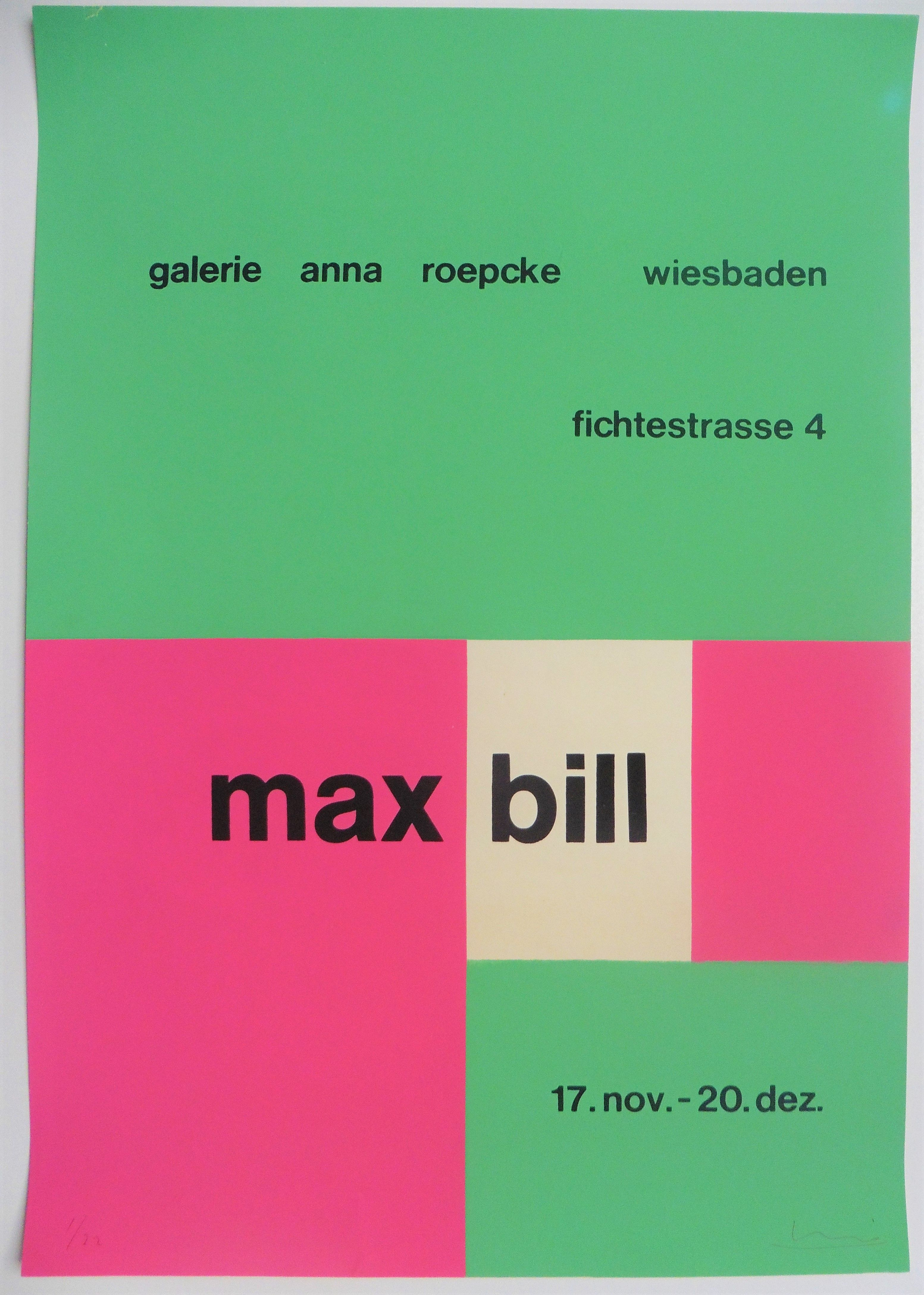 Max Bill Hand Signed And Numbered Original Art Poster In 2020 Max Bill Poster Art Serigraph