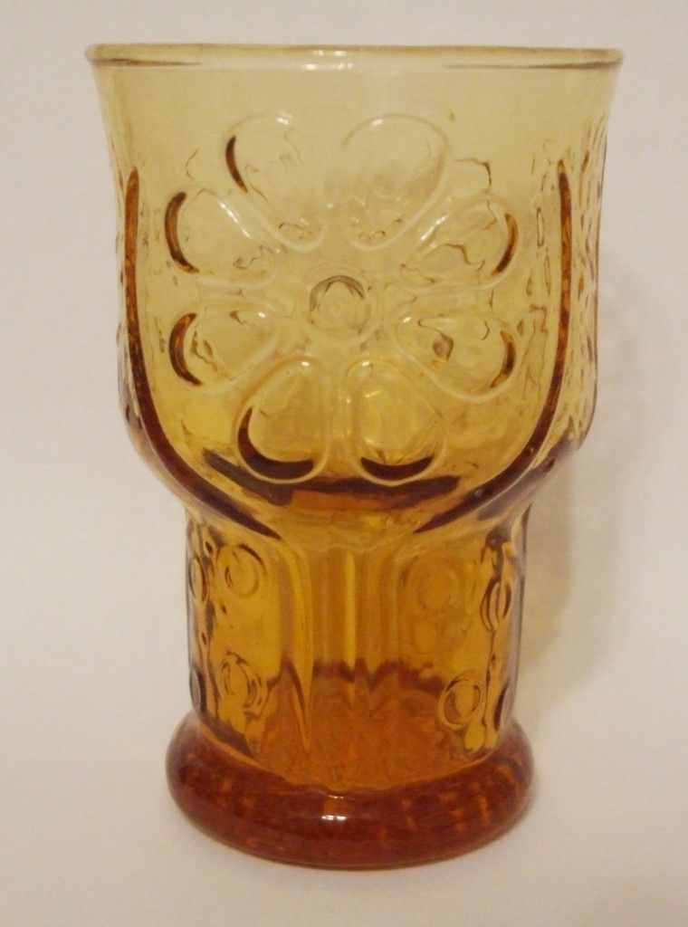 Libbey Country Garden Juice Glass Pressed Amber Glass Daisy