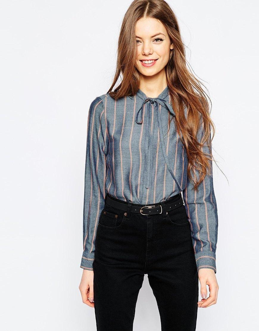 ASOS | ASOS Soft Stripe Tie Front Shirt at ASOS