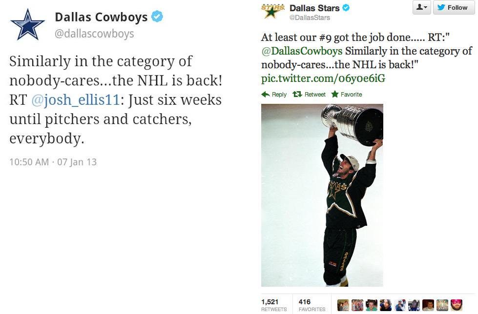 Yall remember this beef?? THE COWBOYS MUST SEEM LIKE FOOLS NOW!! 22-5-2 Dallas Stars- The best in the West!! <3