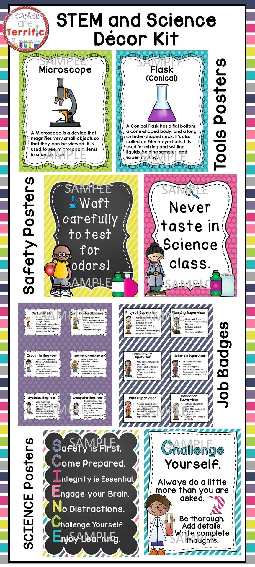 Science Classroom Poster Bundle in Bright Pastels