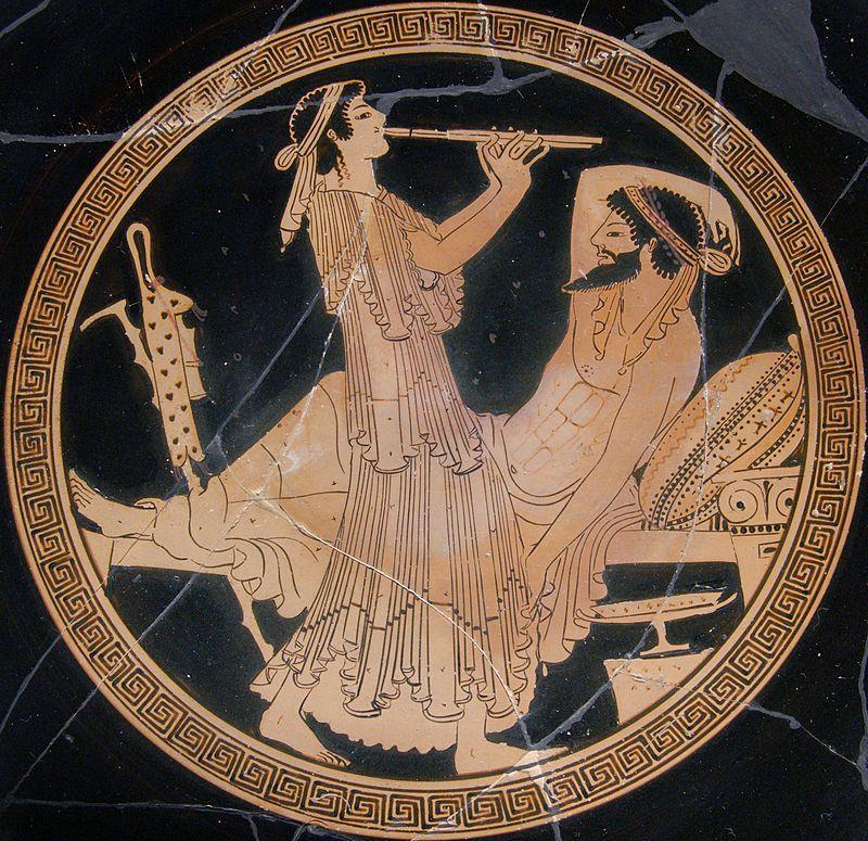 Banquet scene Louvre G135 full - Simposio (Grecia) - Wikipedia, la enciclopedia libre