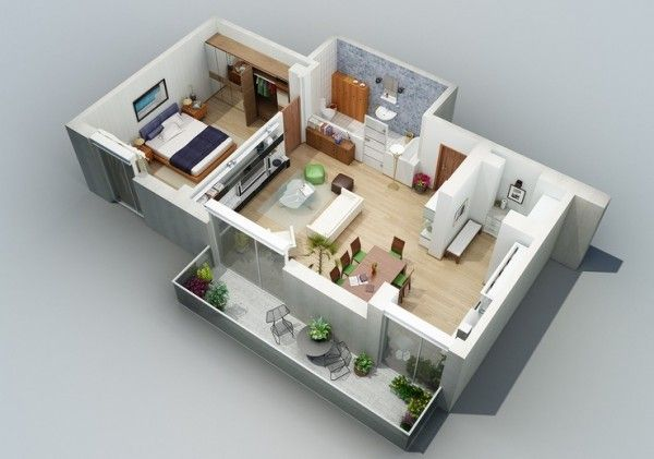 Apartment Designs Shown With Rendered 3d Floor Plans Floor Plan Design Home Design Plans House Design