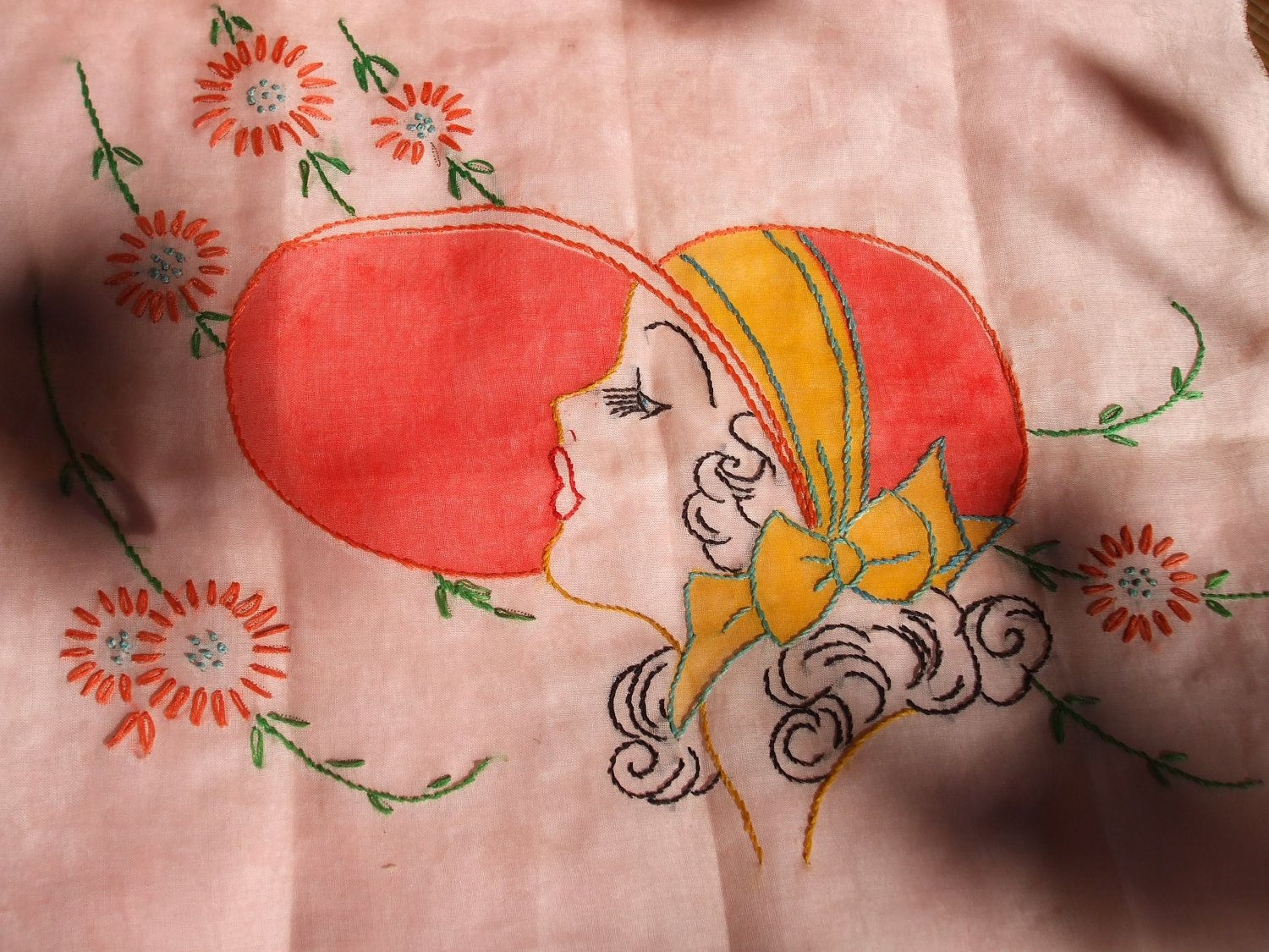 ANTIQUE FLAPPER EMBROIDERY 1920s hand stitched panel,. $13.99, via Etsy.