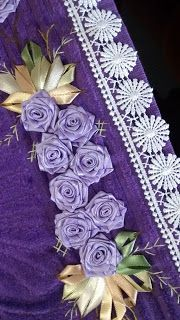 LOY HANDCRAFTS, TOWELS EMBROYDERED WITH SATIN RIBBON ROSES: