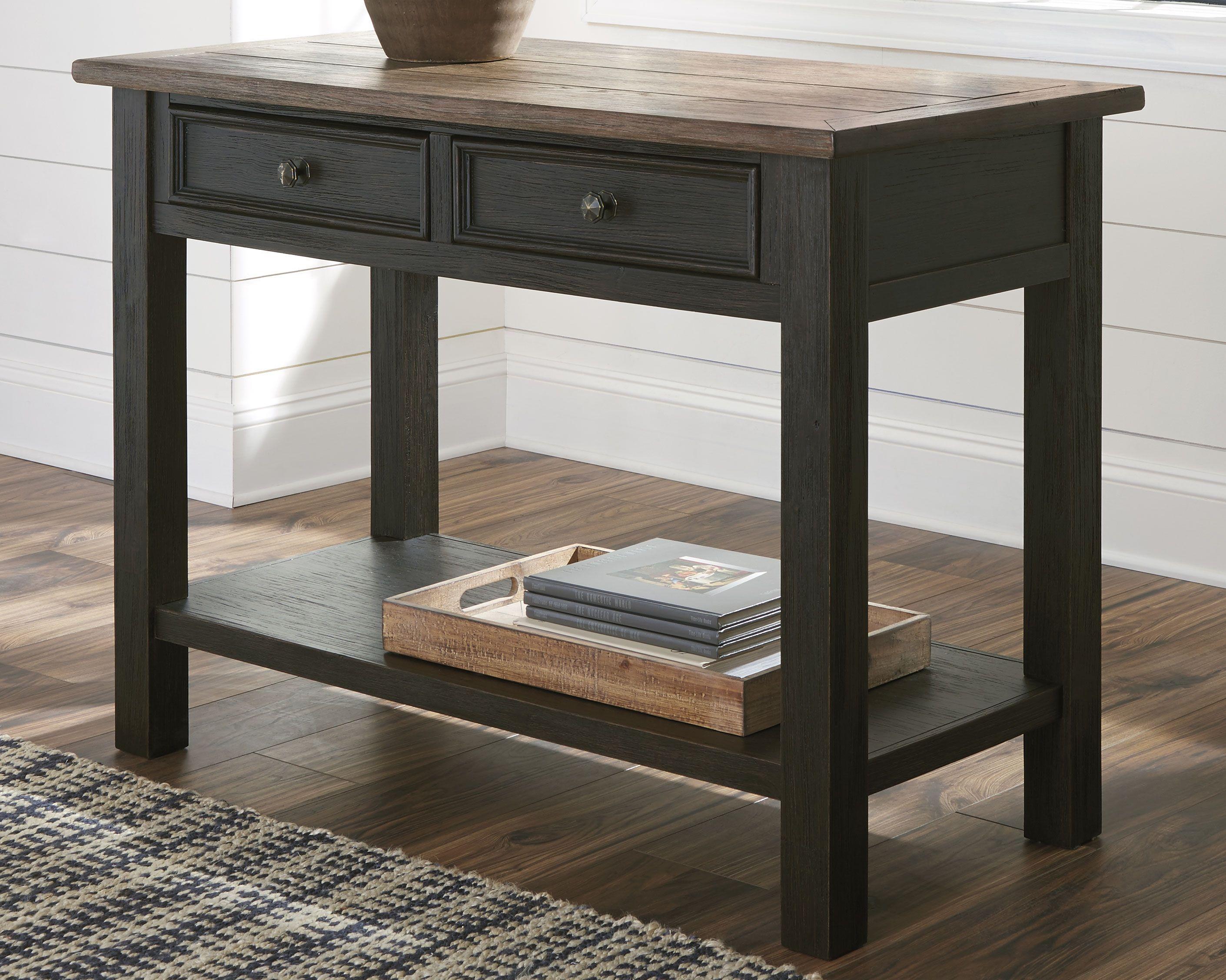 Tyler Creek Sofa Console Table Grayish Brown Black Dining Room