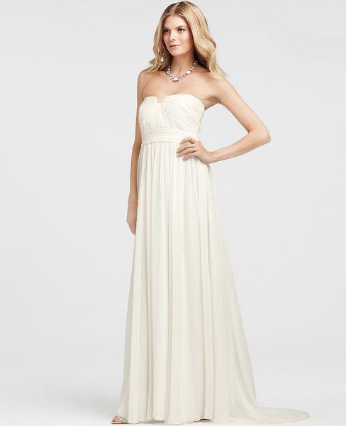 Petite Vintage Silk Strapless Wedding Dress Ann Taylor