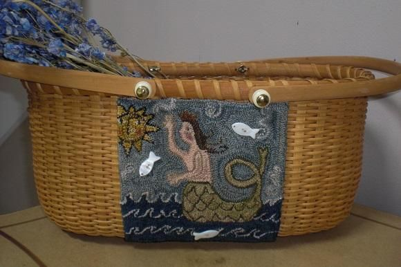 Queen Of the Sea Punch Needle on Nantucket Basket | Primitive Handmades Mercantile, made by Moonbeamprimitives, design by Prim In The Country