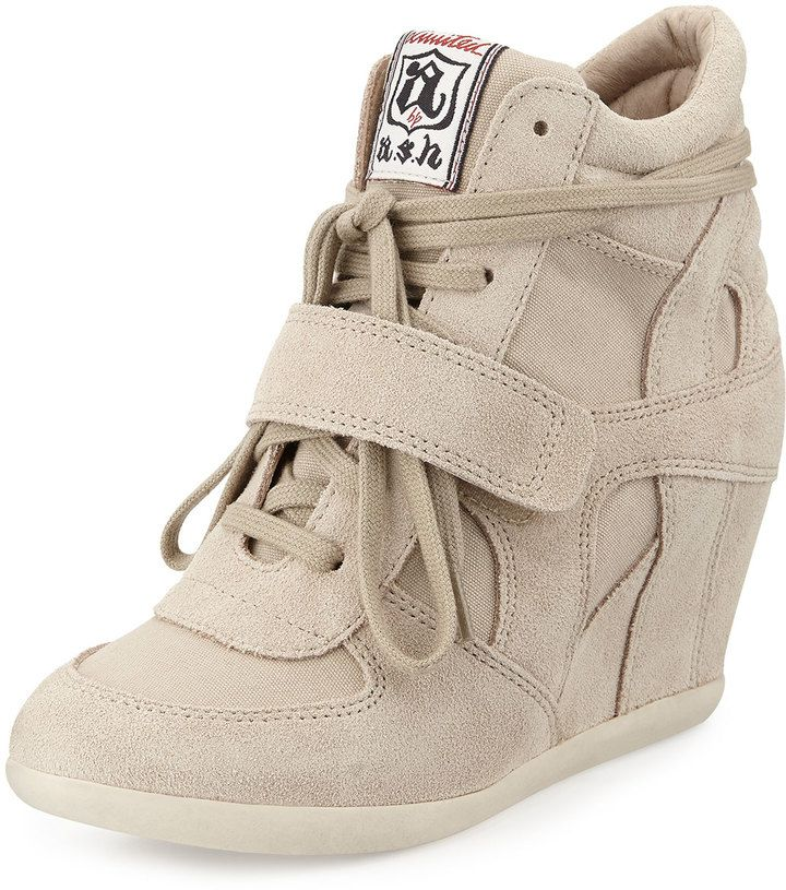 Beige Suede Wedge Sneakers by Ash. Buy for $104 from Last ...