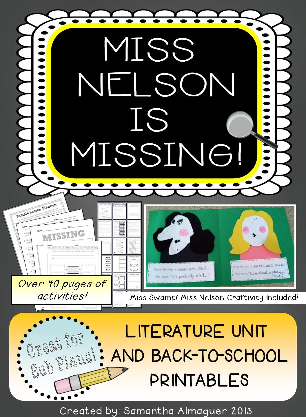 Miss Nelson Is Missing Literature Unit Amp Back To School Activity Pack