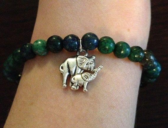 Azurite Malachite with Elephant Charm Stretch Bracelet