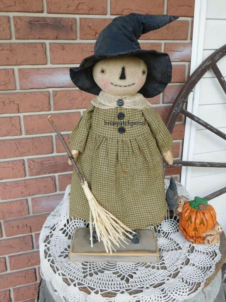Primitive Standing Halloween Witch Doll w her Broom Fall Decoration Folk Art #NaivePrimitive #briarpatchprims #broomdolls