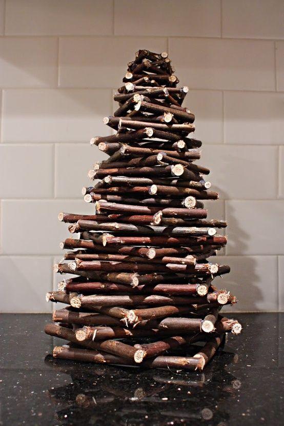 Stack Twigs Homemade Tree Twig Christmas Tree Stick Christmas Tree Christmas Tree Crafts