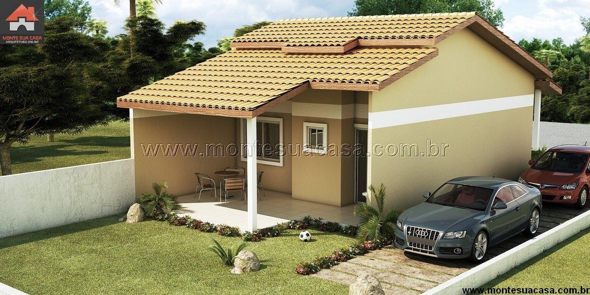Planta de casa 2 quartos monte sua casa for Fachadas de casas modernas de 2 quartos