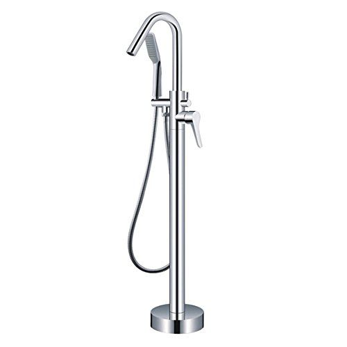 One Handle With Diverter Floor Mount Tub Filler Faucet With Hand Shower  Chrome Finish Freestanding Guma