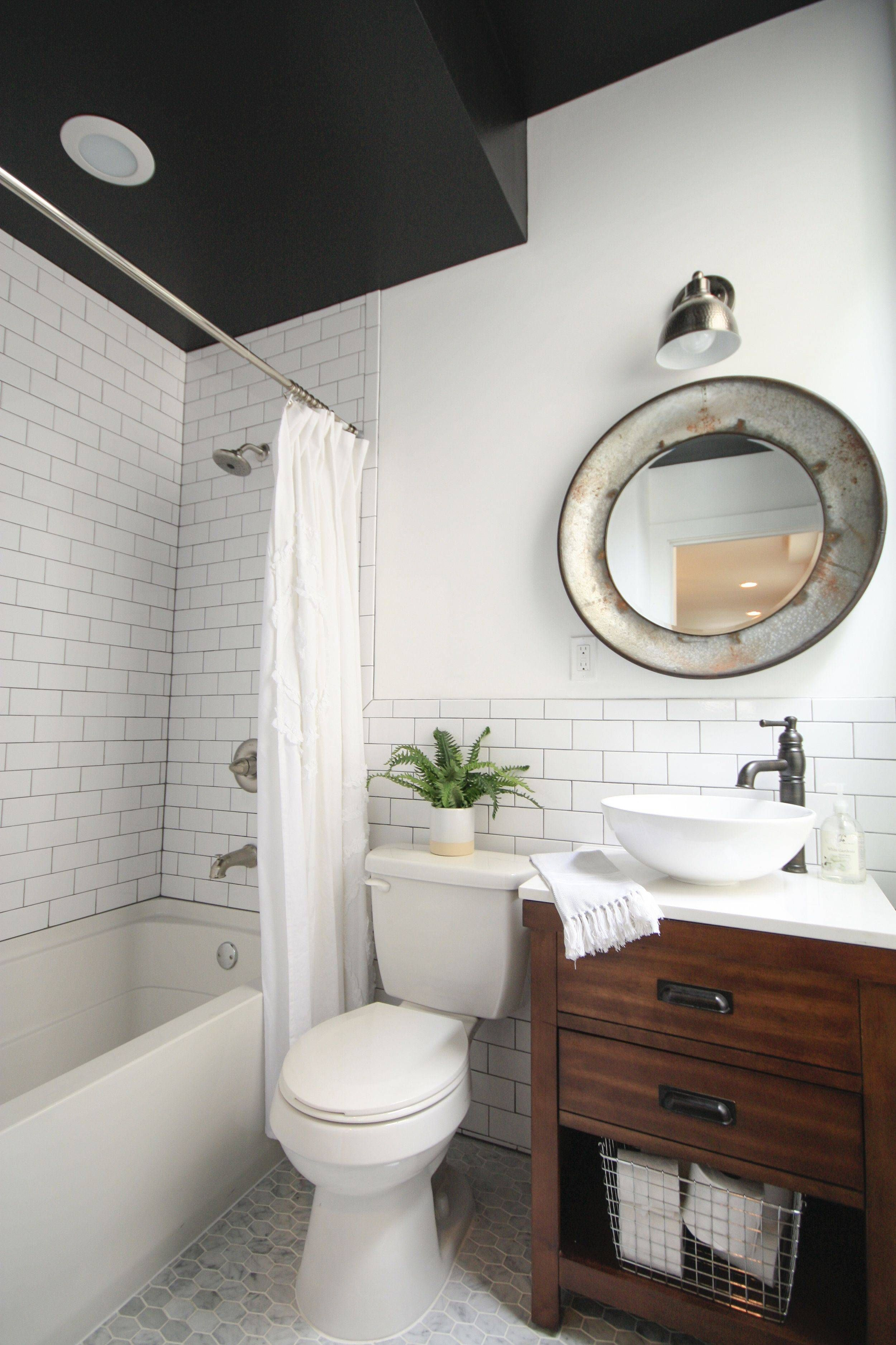 Black And White Tile Bathroom Decorating Ideas White Subway Tile