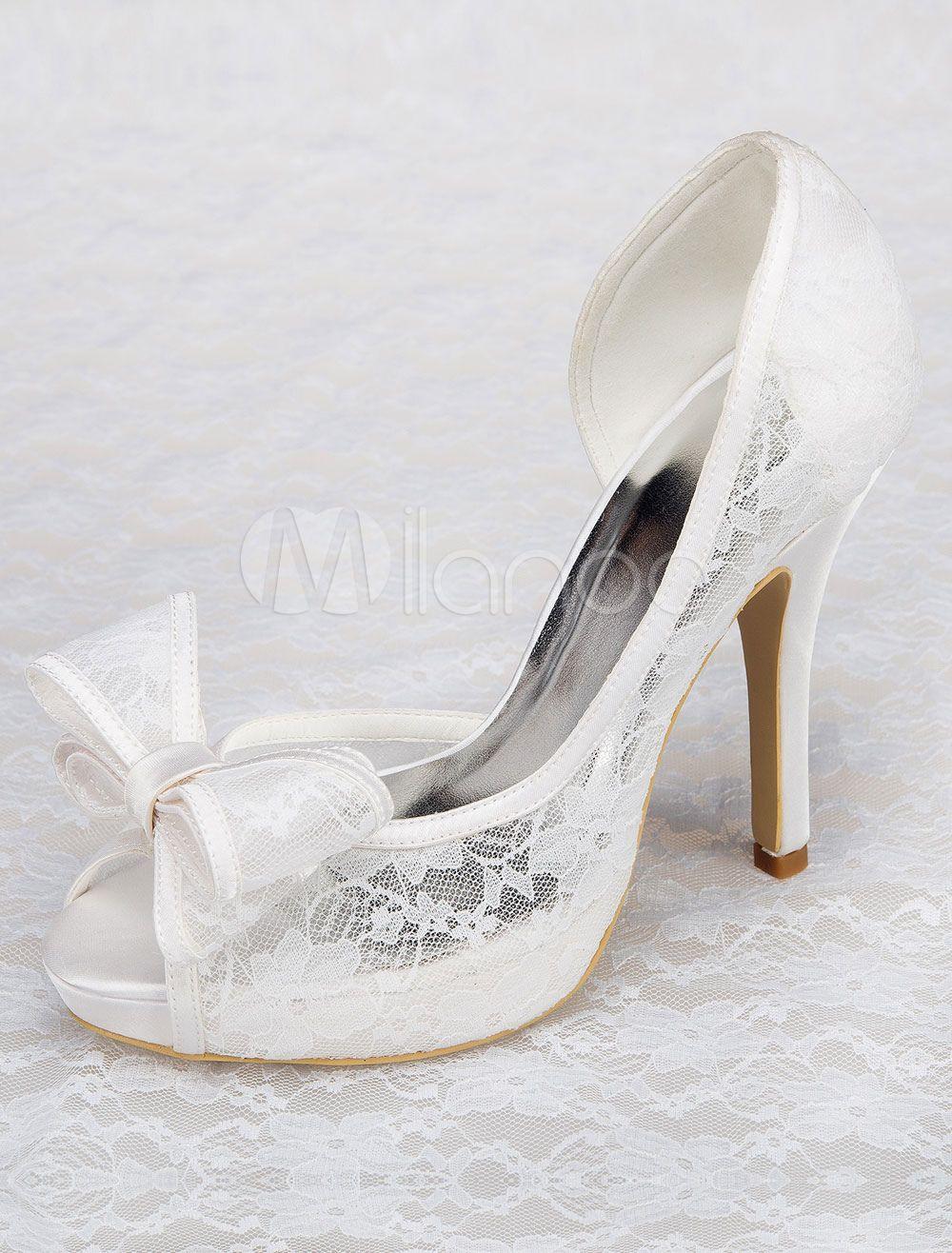 946af0880cde7d Chaussures plateforme chic de mariage blanc dentelle à talons aigus ...