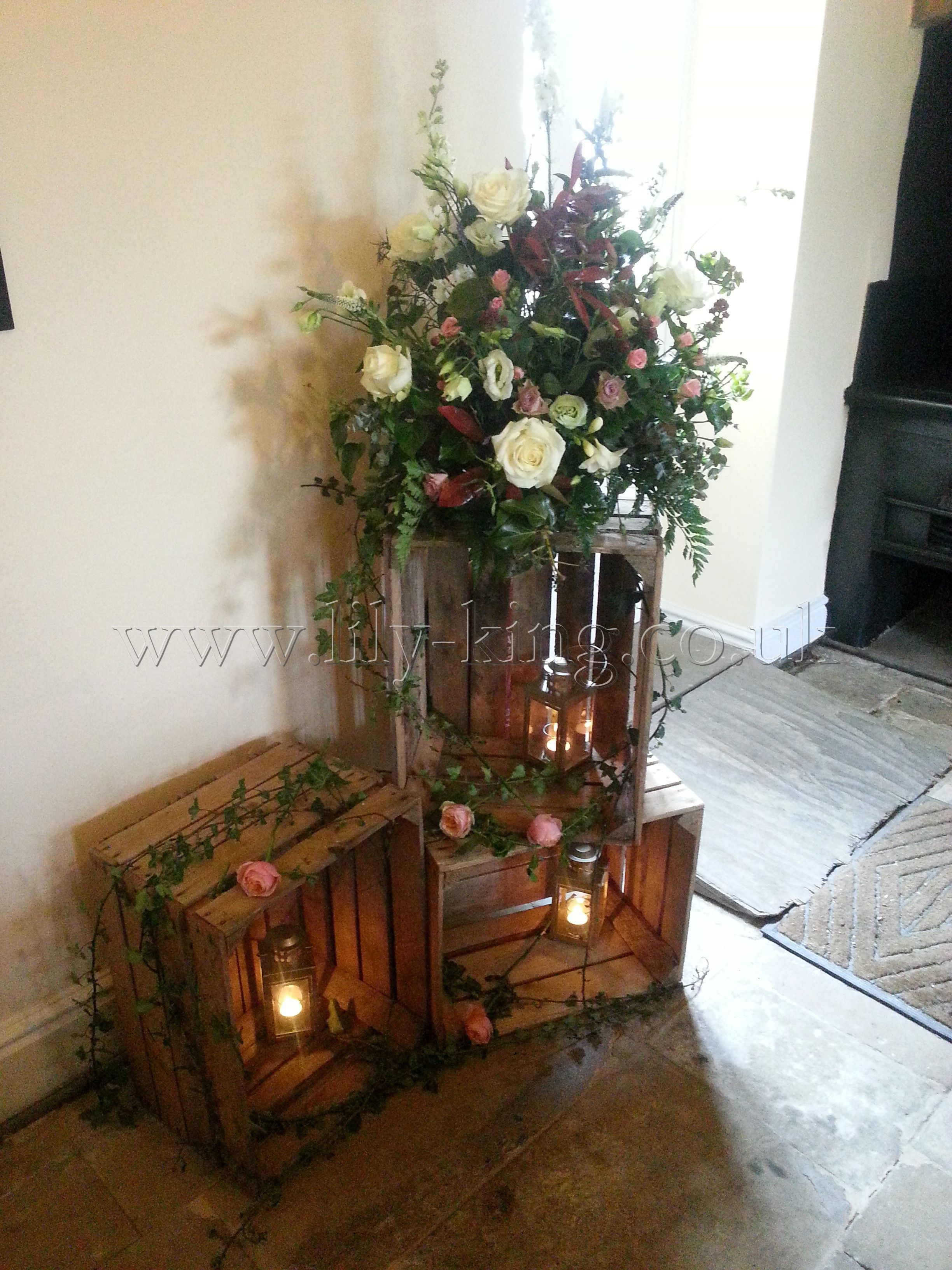 Crate layout for either side of ceremony alter wed ideas
