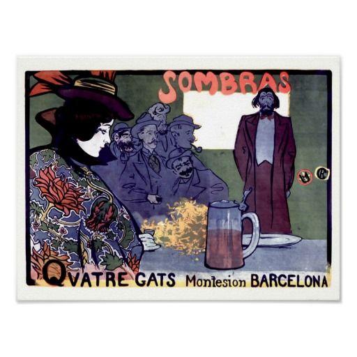 Vintage Spanish Beer Advertisement Posters | スケッチ