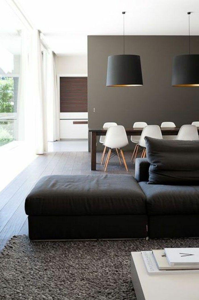 Abbinamento colori, soggiorno con divano, tavolo da pranzo in legno ...