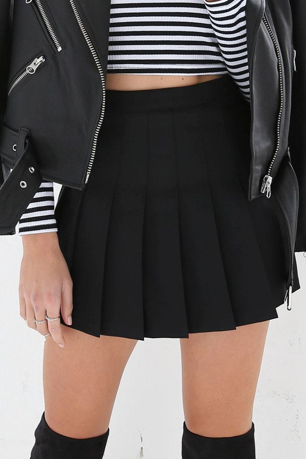 Black Pleated Mini Skirt For similar items, please visit http ...