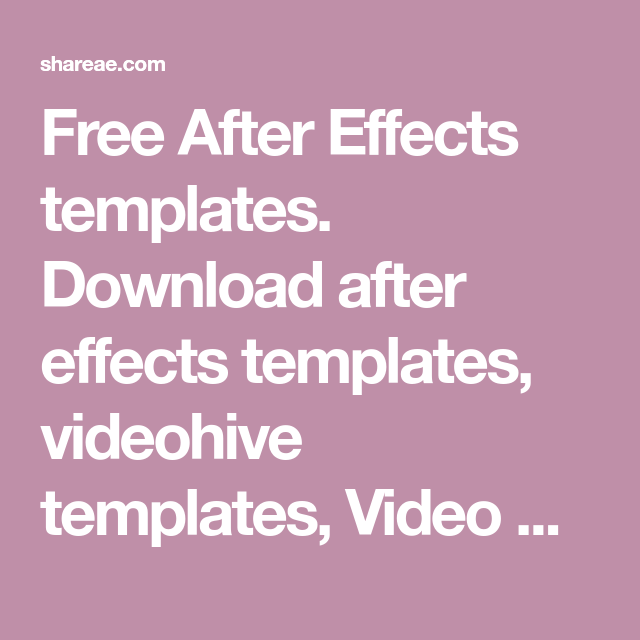Free After Effects templates. Download after effects templates ...
