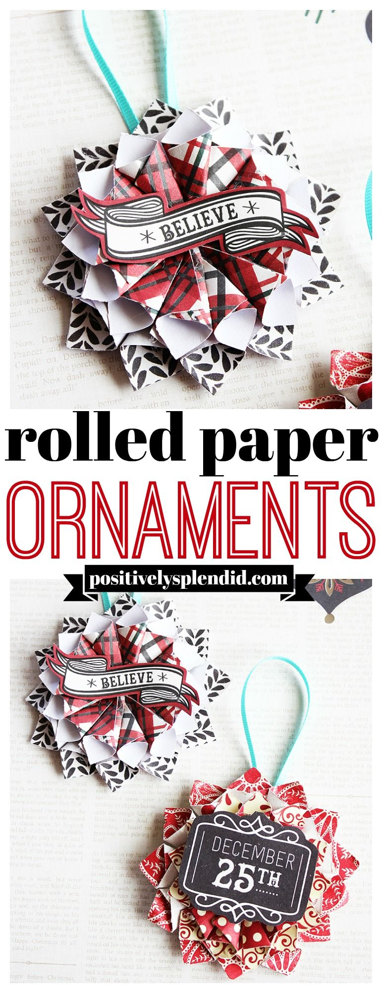 Rolled Paper Homemade Christmas Ornaments -   18 creative homemade crafts