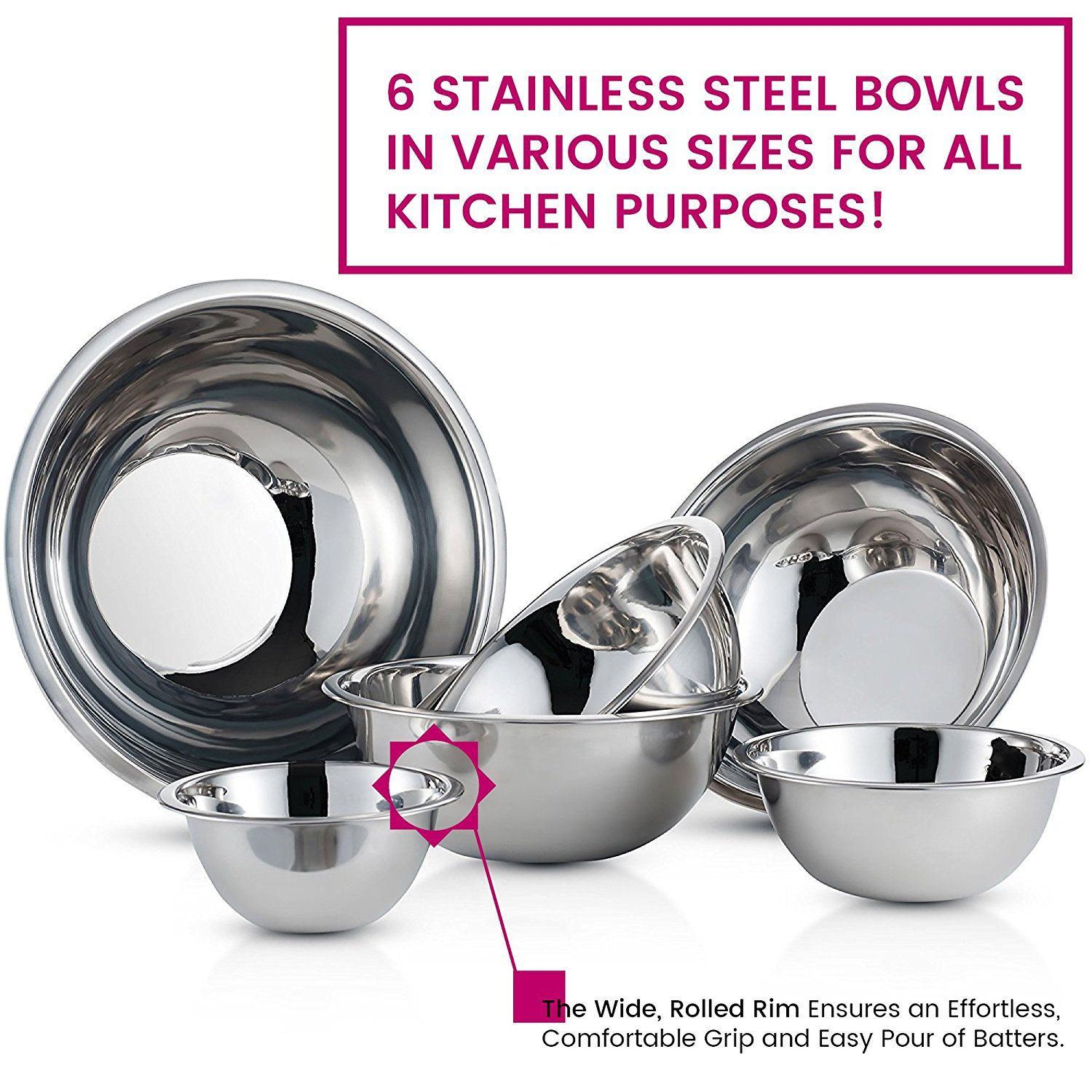 Stainless Steel Mixing Bowls Set Of 6 Polished Mirror Finish