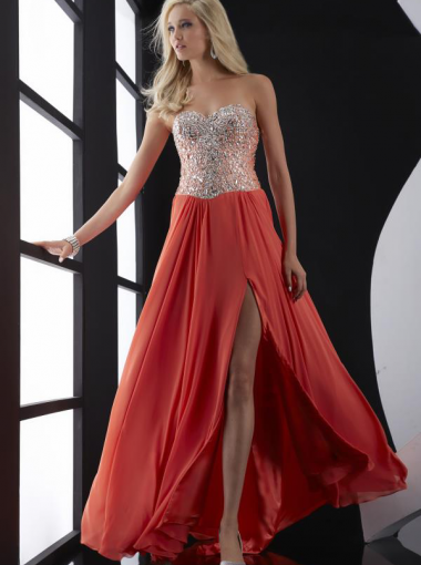 A-line Beaded Red Chiffon Long Formal Dress/ Prom Dress Evening ...