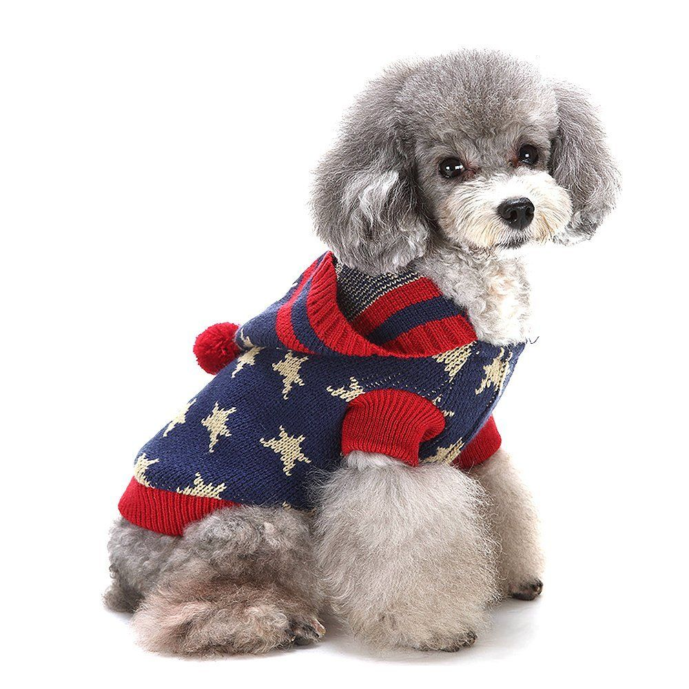 HAPEE Dog Clothes Pentagram Pattern Knit Sweater Pet Hoodie Dog Coat ...