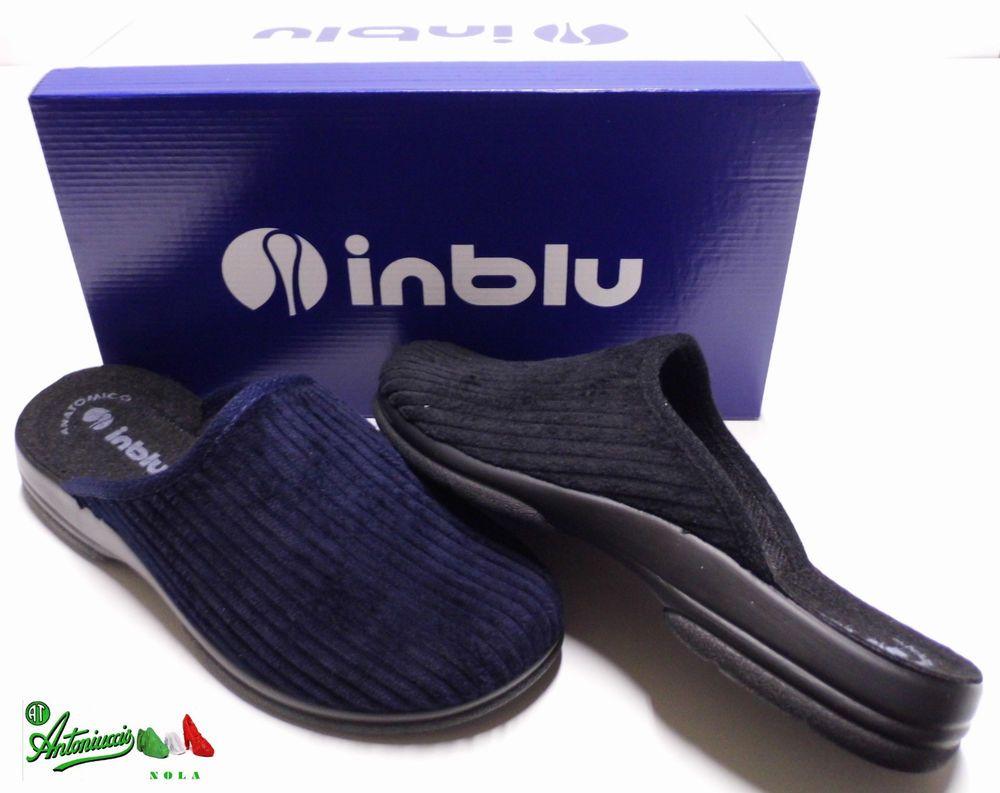 INBLU ciabatte pantofole uomo invernali velluto PO-98 blu nero anatomico  gomma f2fc8306683